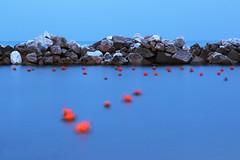 Slow shutter buoys (Stila_Rebel) Tags: blue sea italy motion blur water sunrise movement liguria cliffs slowshutter cinqueterre vernazza buoys scogli canoneos600d rebelt3i