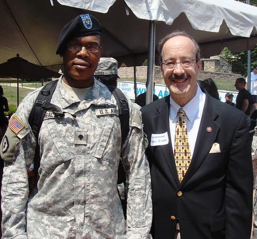 Rep. Engel with active service members overseas