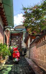 Red Vespar (Charn High ISO Low IQ) Tags: red canon eos backalley village korean seoul southkorea hdr 600d bukchon vespar