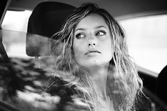 Martina (mickiky) Tags: auto woman reflection window glass girl car blackwhite donna biancoenero ragazza vetro riflesso finestrino