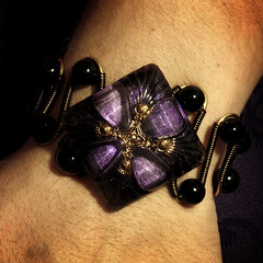 Steampunk Neo Victorian Bracelet - Czech Glass Purple Shimmer Square Button (Catherinette Rings Steampunk) Tags: art glass fashion purple czech jewelry button steampunk