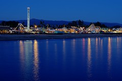Santa Cruz Beach Boardwalk (Edward Vincent) Tags: park santa ca reflection beach night giant 50mm twilight cruz boardwalk hdr dipper