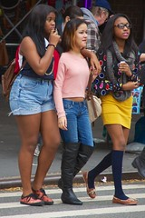 New York teenagers, Oct 2012 - 08 (Ed Yourdon) Tags: newyorkcity friends newyork stockings boots manhattan upperwestside hood shorts peeps shortshorts purplefingernails