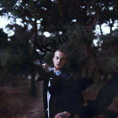 The Keeper. (David Talley) Tags: black halloween birds pine forest dark beard flying scary eyes woods allen vampire coat flight attack spooky edgar crow raven poe kin edgarallenpoe keeper thekeeperskin