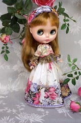 For Annie  Russian Senteurs  (kikihalb) Tags: floral set scarf beads outfit ribbons doll dress handmade sewing border silk fringe clothes jacket blythe handkerchief gibson tailor headband tg brocade embroideries hanky lampas