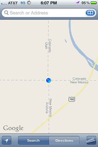 "Four Corners on Google Maps iPhone • <a style=""font-size:0.8em;"" href=""http://www.flickr.com/photos/20810644@N05/8142899718/"" target=""_blank"">View on Flickr</a>"