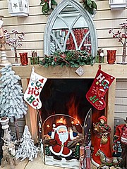 Decorated fireplace (BowBelle51) Tags: santa decorations train reindeer lights penguins fireplace fairground donkey carousel robins polarbear nativity snowglobe eskimo baubles meerkats fircones