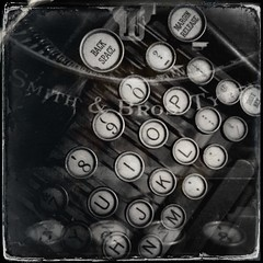 My grandmothers' #typewriter #JohnSSaturday #vintage #heirloom #antique #keyboard (starknurse) Tags: bw squareformat multiexposure iphone johnslens iphoneography hipstamatic tastypopflash dtypeplatefilm