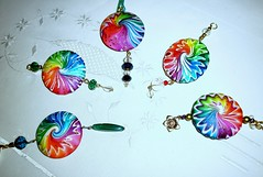 Rainbows and Swirls (klio1961) Tags: necklace handmade spirals bijou jewellery polymerclay fimo clay spinning faux sculpey swirls sparkling swirly shimmering cernit pendants abalorios joyas premo focalbeads