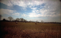 . (abdukted1456) Tags: winter sky ny newyork film field clouds 35mm lens farm toycamera wideangle plastic 200 hay stillwater bales agfa expired expiredfilm optima agfacolor superheadz lastcamera
