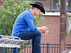 A textin' Texan? (benlarhome) Tags: calgary alberta canada stampede hbm