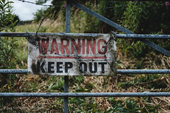 Warning keep out! (Rory Prior) Tags: yorkshire walk summer overcast sign warning pudsey leeds