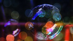Bubbles and Bokeh lights (ronamkelly) Tags: bubbles bokeh lights artistic composition reflection overlay manipulation art artsy