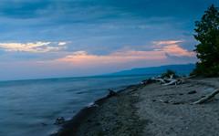 Sunset On The Lake (vernonbone) Tags: 1855kitlens 2016 august d3200 eastpoint eastpointpark lakeontario lens ontario beach landscape leadinglines longexposure nikon outside water