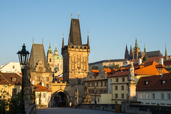 Morning on Charles Bridge (romanboed) Tags: karluv most charles brideg gate leica m 240 summilux 50 czech europe cesko czechia prague panorama spires praha prag praag praga prazsky hrad castle hradcany mala strana lesser quarter summer city cityscape architecture travel tourism morning