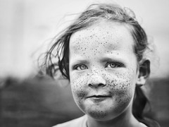 Freckled and red (Thewayofthebadger) Tags: 14 f14 50mm 600d canon scotland falkirk greyscale monochrome bw blackandwhite freckles girl face portraits portrait
