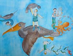 The 'Ocean's Ahoy Traveling Circus Brigade' Uses an Unusual Method of Transportation (Fauna Finds Flora) Tags: circus narwhal whale octopus crab kelp pelican seal bird juggle strongman contortionist acrobat animals seaanimals mammals creatures fly travel trapezeartist story characters narrative art illustration painting gouache watercolor nature faunafindsflora