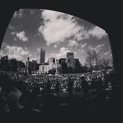 Concert in the park (Blockshadows) Tags: architecture urban white black blackandwhite bw russian peleng fisheye 8mm wide wideangle festival rally colorado downtown city outdoors concert crowd park center civic denver