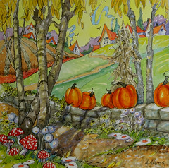 A Walk Through Autumn Storybook Cottage Series by Alida Akers (cottagelover1953) Tags: retro deco painting watercoor cottage village pumpkin fall autumn storybook fairy tale old fashioned nursery art whimsical