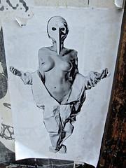 Breasts and Beak, New York, NY (Robby Virus) Tags: newyork newyorkcity ny nyc manhattan bigapple city breasts beak street art topless paste pasted lady jump suit woman
