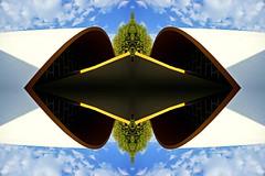 Effet d'Optique ! (royan-tourisme) Tags: royan architecture royantourisme market gomtrique symtrie blue yellow white green tree sky cloud courbe
