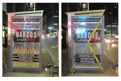 Narcos Bus Shelter Pile O Money AD - UPDATE 2117 (Brechtbug) Tags: narcos bus shelter pile o money ad tv show stop with piles slightly singed real fake or is it 2016 nyc right image taken 09102016 left 09172016 midtown manhattan new york city 49th street 7th ave st avenue moola bogus update they stole