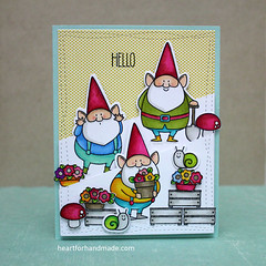 Hello card (Heart for Handmade) Tags: myfavoritethings hellocard stamping coloredcard partialdiecut promarkers coloring stitching