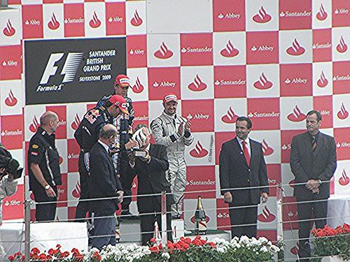 The podium celebrations after the 2009 British Grand Prix