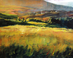 Tuscan Hillside (ChristopherClarkArt) Tags: christopherclark chrisclark christopher chris clark art artist artwork fineart original paint painting painter oil acrylic draw daily dailypainter dailypainting landscape tree hill grass green autumn fall seasons season nature sunset afternoon italian italy tuscan tuscany toscano mediterranean texture abstract modern contemporary vineyard architecture