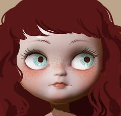 Icy custom sketch (Piticrunchy) Tags: cute work sketch doll progress wip doodle blythe freckles icy custom clone fa piticrunchy