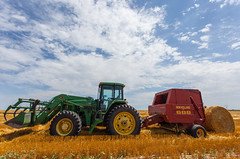 tractor field southdakota wheat harvest bale johndeere baler newholland img2861