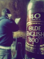 Malt liquor & a voicebox. (Zombie Lawyer) Tags: life friends drunk beers oldeenglish homies recording 40oz homestudio