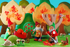 Raking the leaves (Gnome Girl!) Tags: autumn trees fall mushroom leaves squirrel ostheimer gnomes steiff elves raking schleich pucki lucki gucki