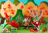 Raking the leaves (Gnome Girl!) Tags: autumn trees fall mushroom leaves squirrel ostheimer gnomes steiff elves raking schleich pucki lucki gucki