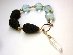 Icy quartz bracelet (Leah C.) Tags: blue winter black ice stone point lava wire aqua hammered handmade wrapped bracelet copper brass quartz forged gemstones