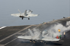 An F/A-18E takes off at sea. (Official U.S. Navy Imagery) Tags: heritage america liberty freedom commerce unitedstates military navy sailors fast worldwide tradition usnavy protect deployed flexible onwatch beready defendfreedom warfighters nmcs chinfo us5thfleetareaofresponsibility sealanes warfighting preservepeace deteraggression operateforward warfightingfirst navymediacontentservice