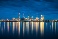 Oil refinery plant (Weerakarn) Tags: city blue reflection river landscape thailand twilight nikon cityscape image bluesky oil bluehour chaophrayariver    weerakarn oilrefineryplant