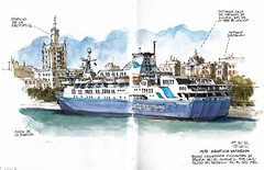 M/S Kristina Katarina (Luis_Ruiz) Tags: cruise port puerto harbor boat sketch spain barco ship harbour drawing kristina vessel sketchbook ms andalusia dibujo malaga katarina stillmanbirn