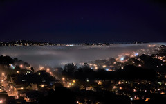 fog along the foran freeway (pbo31) Tags: sanfrancisco california city urban black color fog night dark nikon october glow view over foggy bernalheights 2012 hollypark 280 bernalhillpark d700 foranfreeway