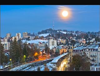 The Moon is rising on La Chaux-de-Fonds.(Alt 1,000 m )and Mont Cornu . October 29,2012. No. 343.