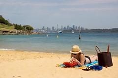 Sydney City Break (Kokkai Ng) Tags: new city sea summer camp vacation woman holiday beach girl hat wales lady female bag leaving reading one book women harbour cove south sydney straw sunny australia bikini ita behind distance buttrose