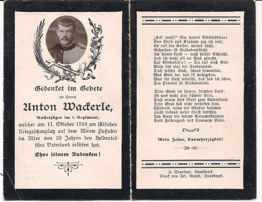 Anton maderle m pasubio 11 ottobre 916 podgora tags österreichungarn sterbebild