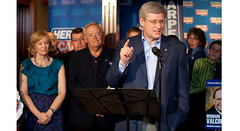 Prime Minister Stephen Harper speaks to supporters at a whistle-stop rally in Edmundston, NB