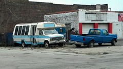 Ford bus + F-150 ([jonrev]) Tags: bus ford abandoned truck looking flat indiana pickup tire f150 150 odd 80s transportation 70s vehicle gary van boxy econoline e150 flickrandroidapp:filter=berlin