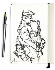 Saxophon (rafaelmucha) Tags: urban moleskine pen ink notebook sketch hamburg sketchbook parallel tinte saxophon strassenmusikant
