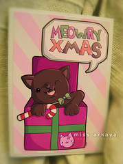 xmas card for beckykat + BF (Capt. arkaya) Tags: christmas xmas black cane cat candy box handmade kitty card gift