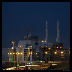 Mosque In Muscat (Sultanate of Oman) (Denis F...) Tags: street city blue sky urban car night square french lights calle nikon long exposure cityscape traffic minaret muslim islam ciudad mosque east bleu ciel hour 400 nd middle nikkor rue oman nuit muscat ville gcc voitures lumieres francais strays hoya carre sultanate mascate masqat