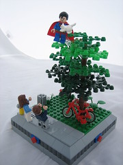 Superman: Cat Savior (Outer Rim Emperor) Tags: park trees rescue tree cat lego super superman hero superhero vignette bystanders savoir