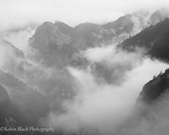 Merced Canyon in Mist and Fog (Yosemite) (Robin Black Photography) Tags: blackandwhite bw mist fall monochrome fog river nationalpark ngc merced canyon yosemite granite mysterious obscured bridalveil ridges winterstorm nationalgeograhic outdoorphotographer canon5dmarkii americasbestidea robinblackphotography