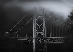 Bear Mountain Bridge in Fog (zuni48) Tags: bearmountainbridge alienskinexposure fog mist pinhole blackandwhite monochrome architecture newyorkstate moody atmosphere